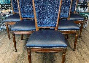 blue vinyl dining chairs residential upholstery