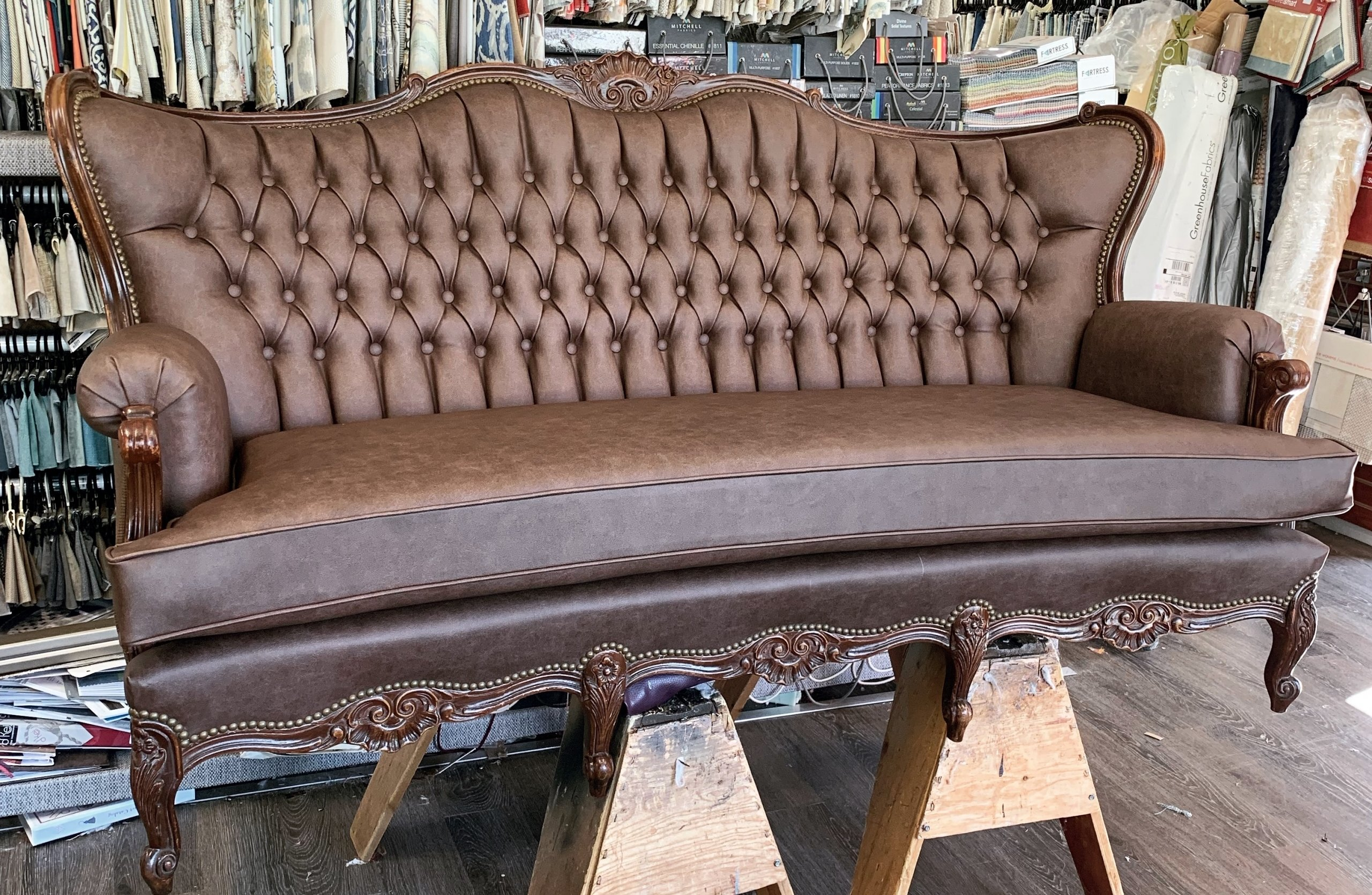 commercial upholstered brown vinyl sofa