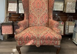 antique upholstery restoration wing chair