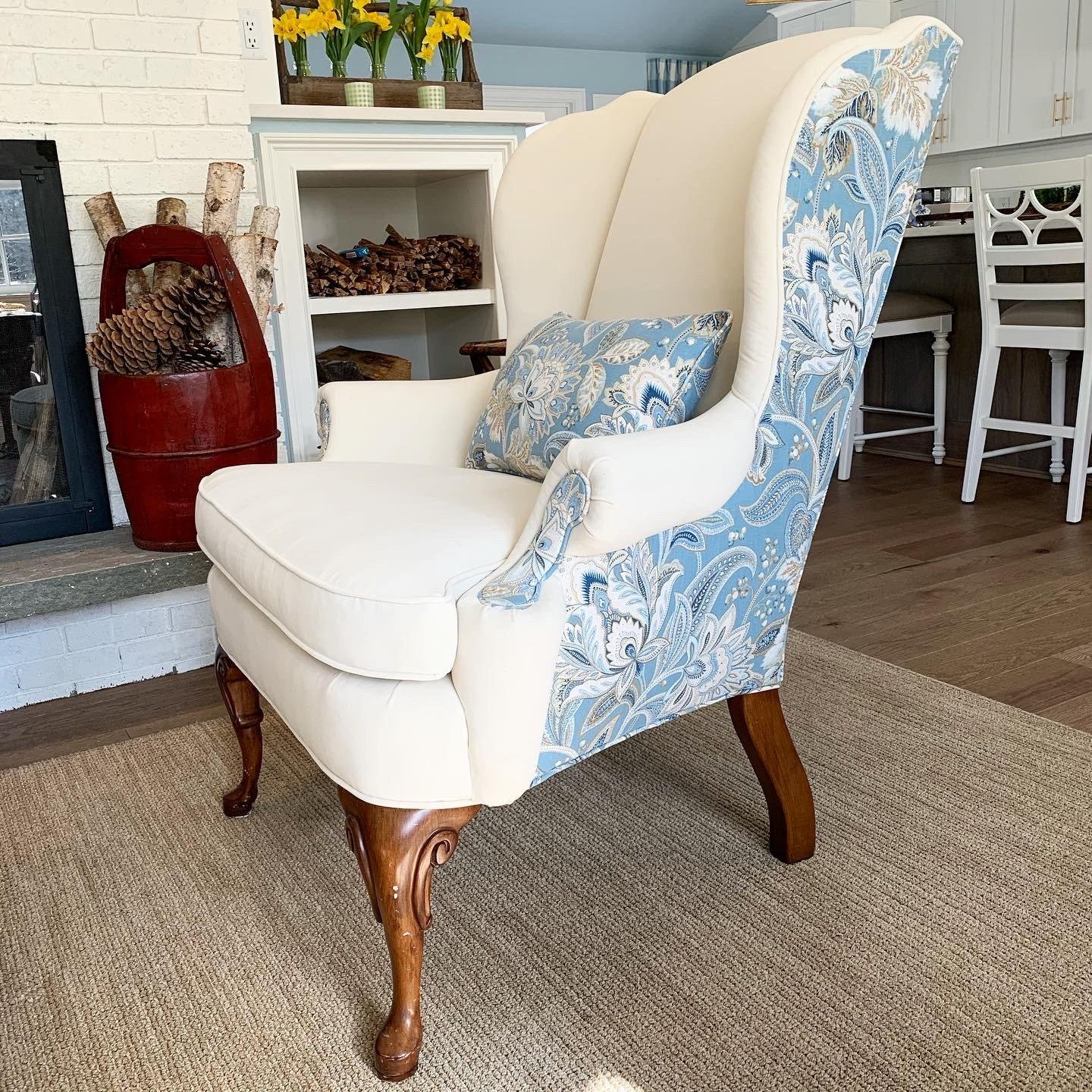 custom upholstery wing chair