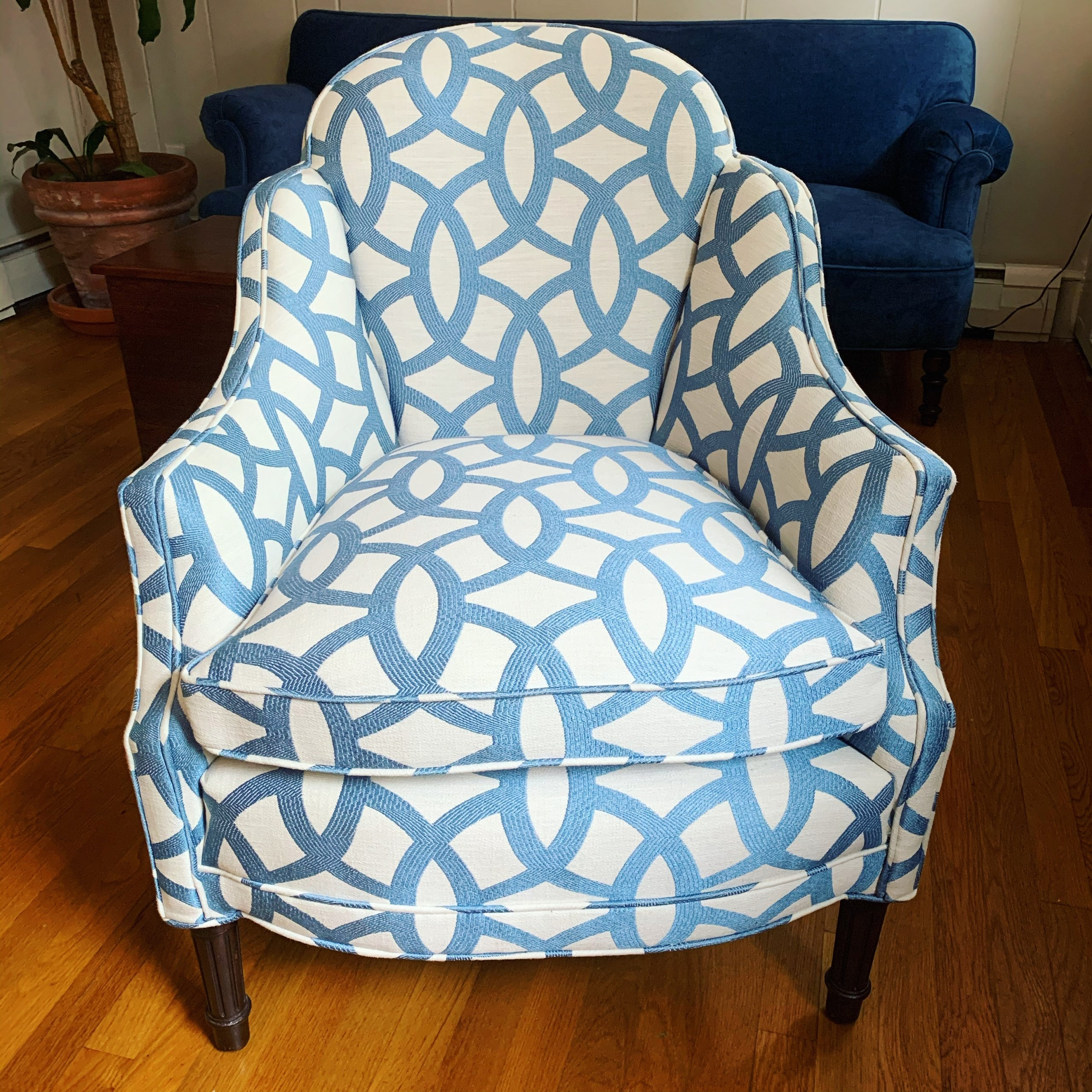 antique blue and white chair