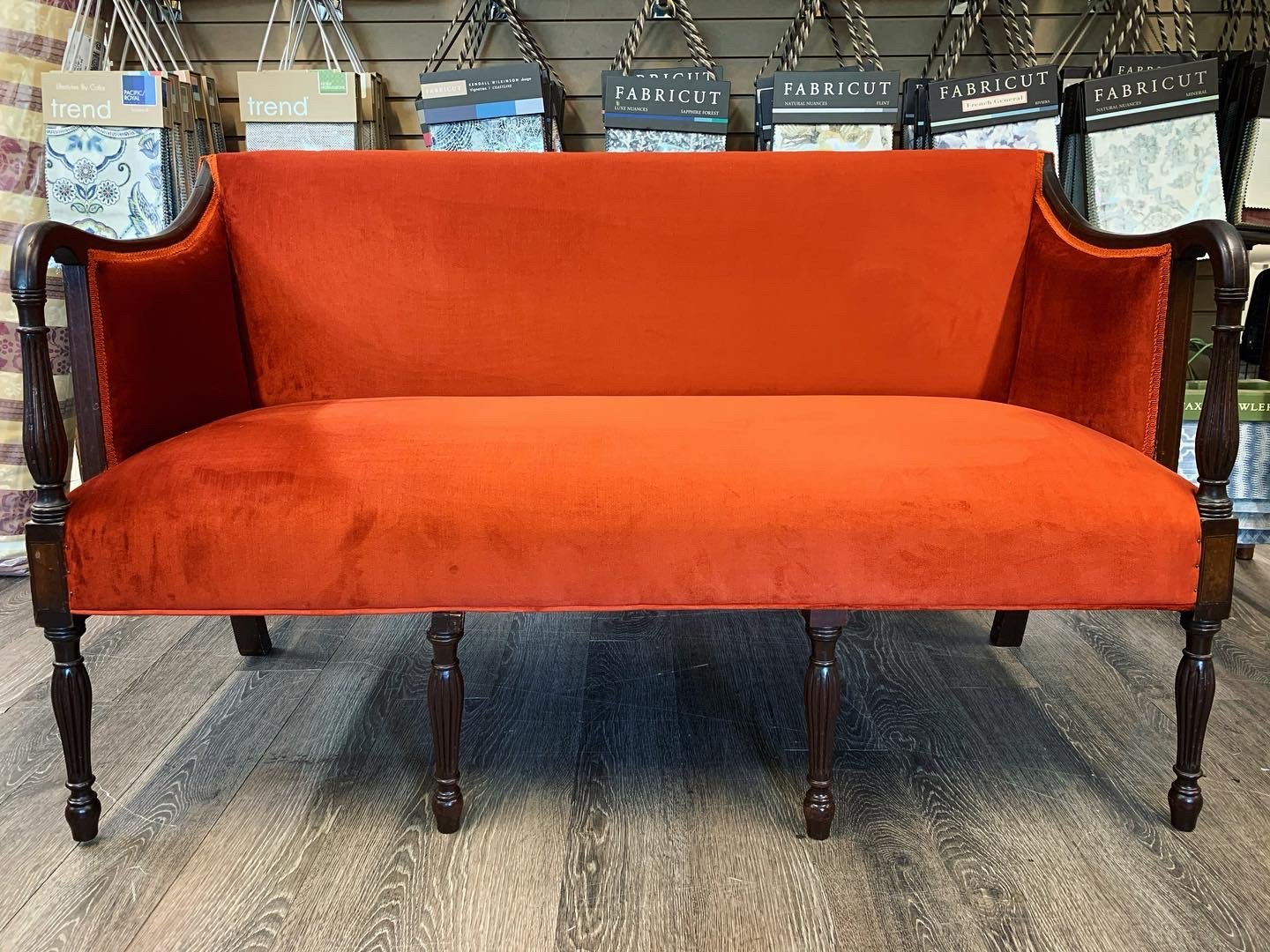 settee orange upholstery antique