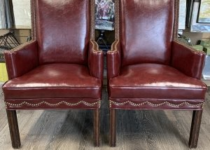 antique leather upholstery nail chairs