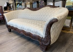 antique sofa silver and tan upholstery