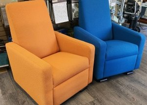 blue and orange rockers residential upholstery