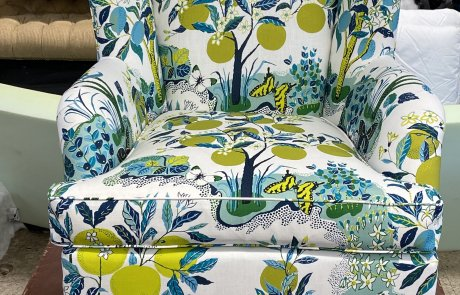 Fruit tree and butterfly upholstered chair
